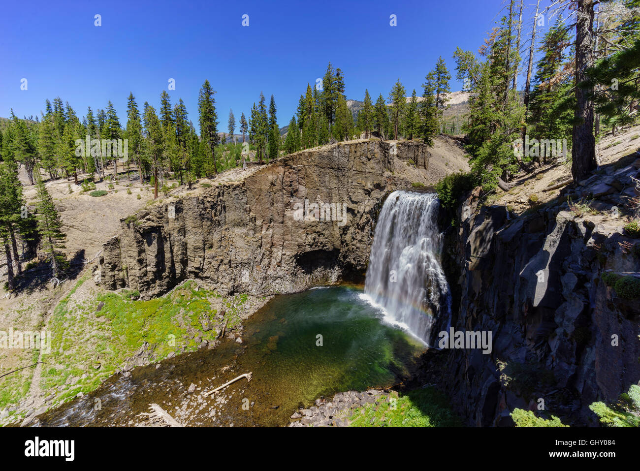 The beautiful Rainbow Fall of Devils Postpile National Monument - Stock Image