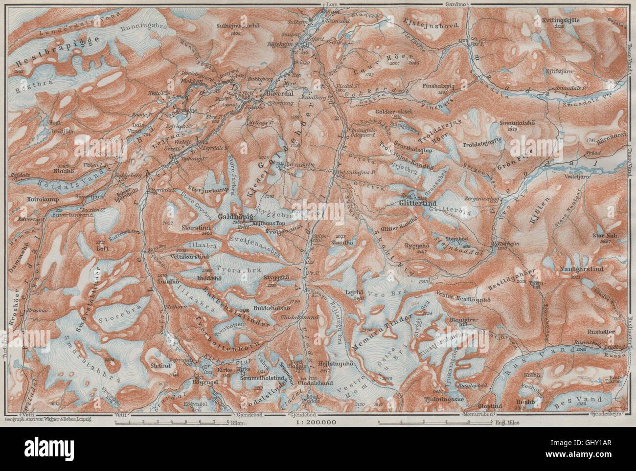 Galdhøpiggen and Glittertind mountains. Jotunheimen. Topo-map. Norway, 1909 - Stock Image