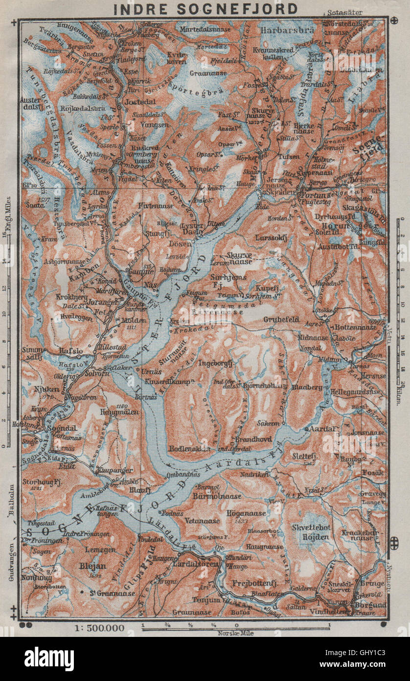 årdalstangen kart INNER SOGNEFJORD topo map. Gaupne Luster Ardalstangen. Norway kart  årdalstangen kart