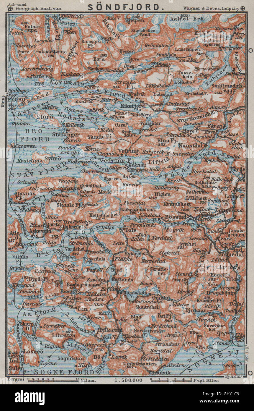 SOGN OG FJORDANE Sondfjord Sndfjord Floro Topomap Norway kart