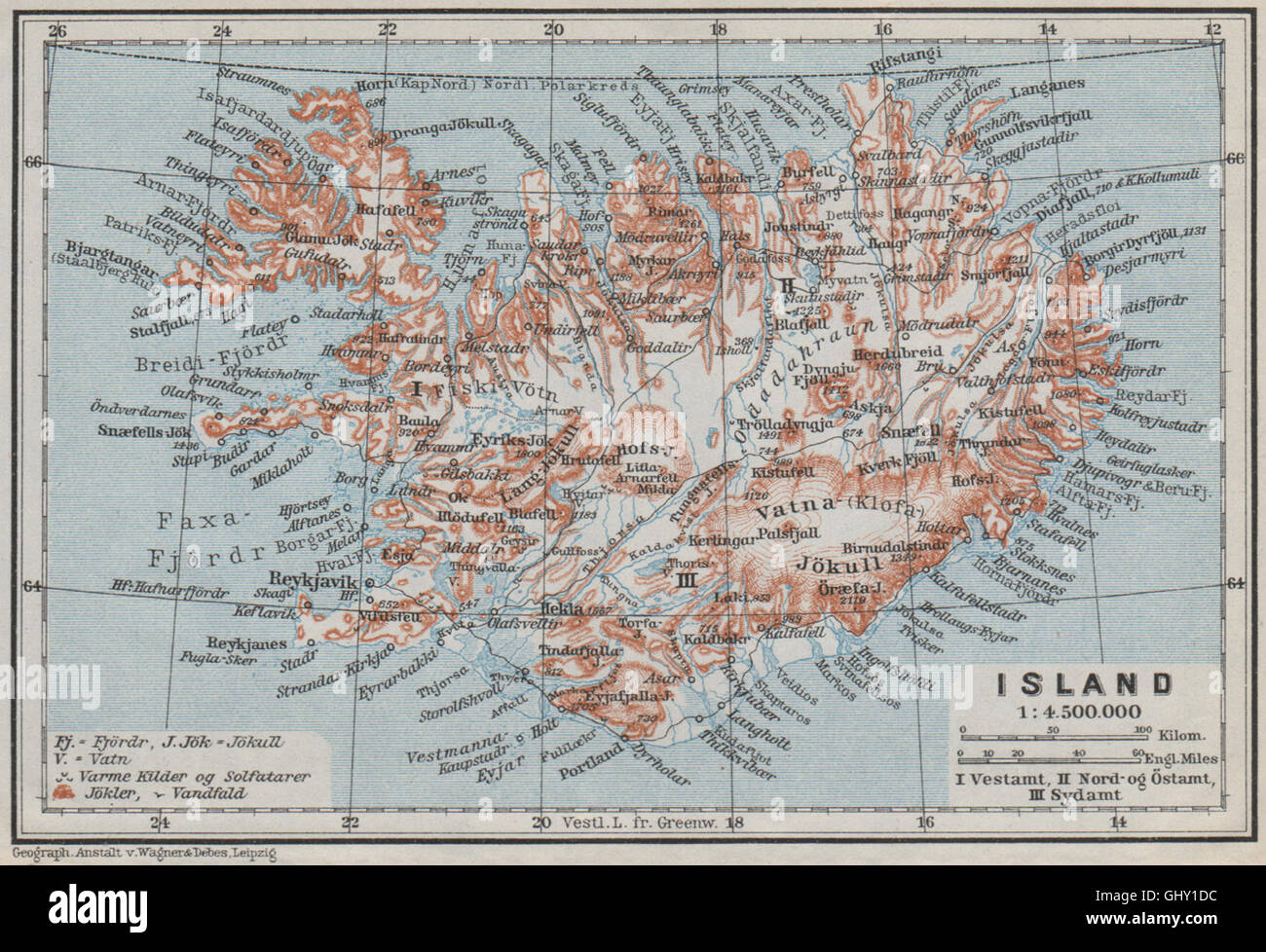 Topographic Map Of Iceland.Iceland Island Reykjavik Topo Map Kort Baedeker 1909 Stock Photo