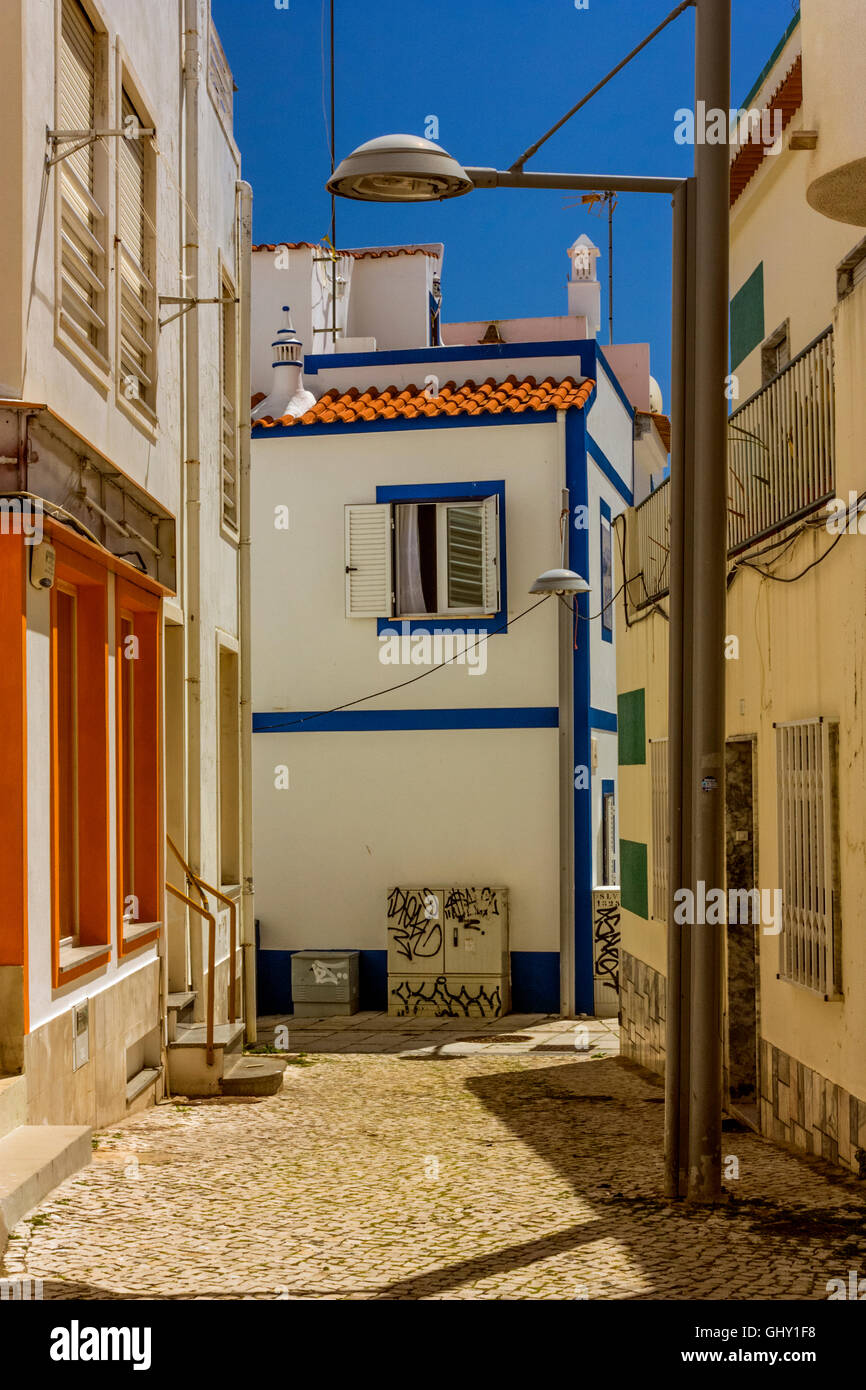 Armacao de Pera street and houses - Stock Image