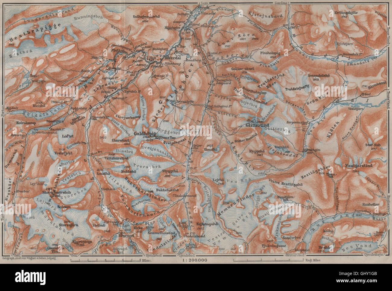 Galdhøpiggen and Glittertind mountains. Jotunheimen. Topo-map. Norway, 1912 - Stock Image