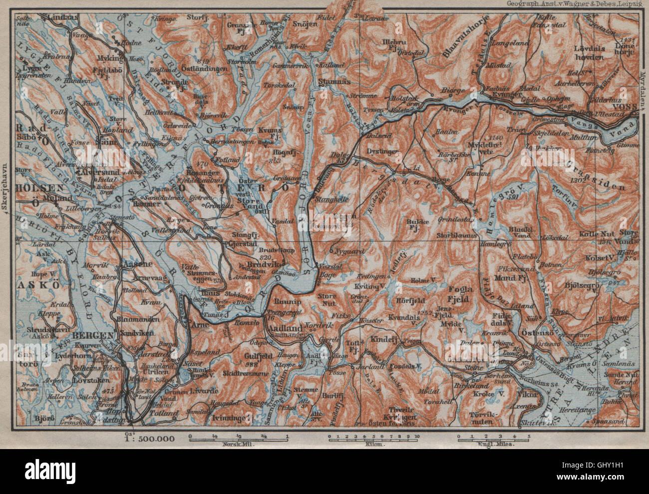 Bergen Vossvangen Sorfjorden Topo Map Norway Kart Baedeker