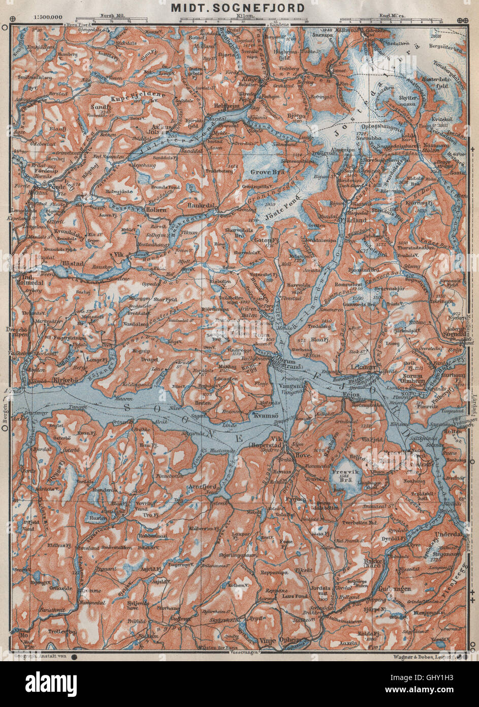 Central Sognefjord Topo Map Leikanger Sogndal Norway Kart Stock