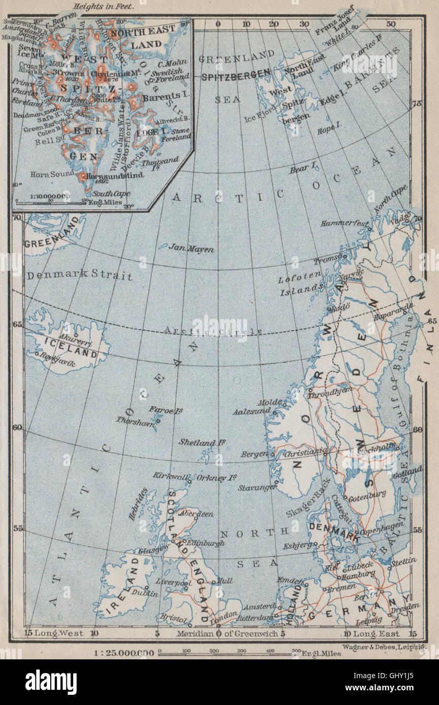 northern europe norwegian sea arctic ocean spitsbergen scandinavia 1912 map