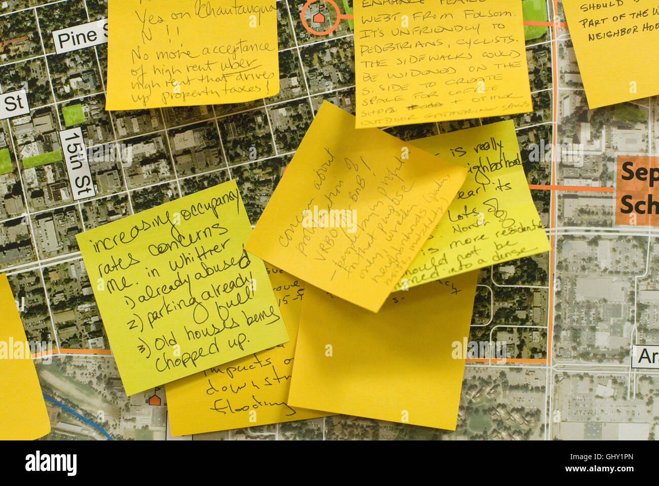 During public meetings, Boulder often asks residents to express their feelings about issues on sticky notes. - Stock Image