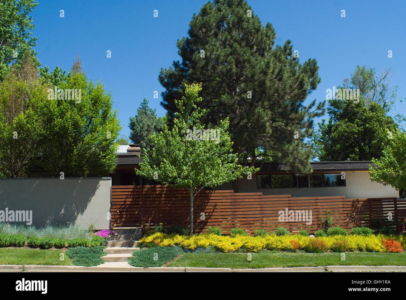 Boulder garden, at Mid-Century Modern home in the Newlands neighborhood of Boulder, CO - Stock Image
