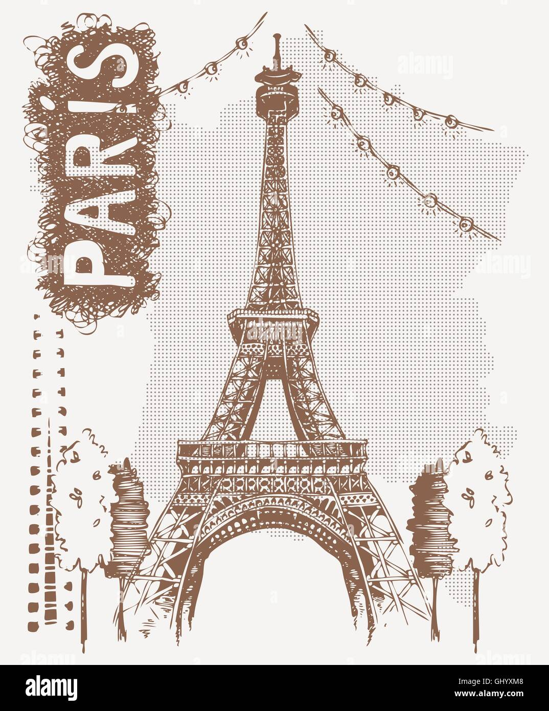 Sketch Eiffel Tower in Paris, France. Vector illustration in vintage style. Tshirt design with hand drawing Eiffel - Stock Vector