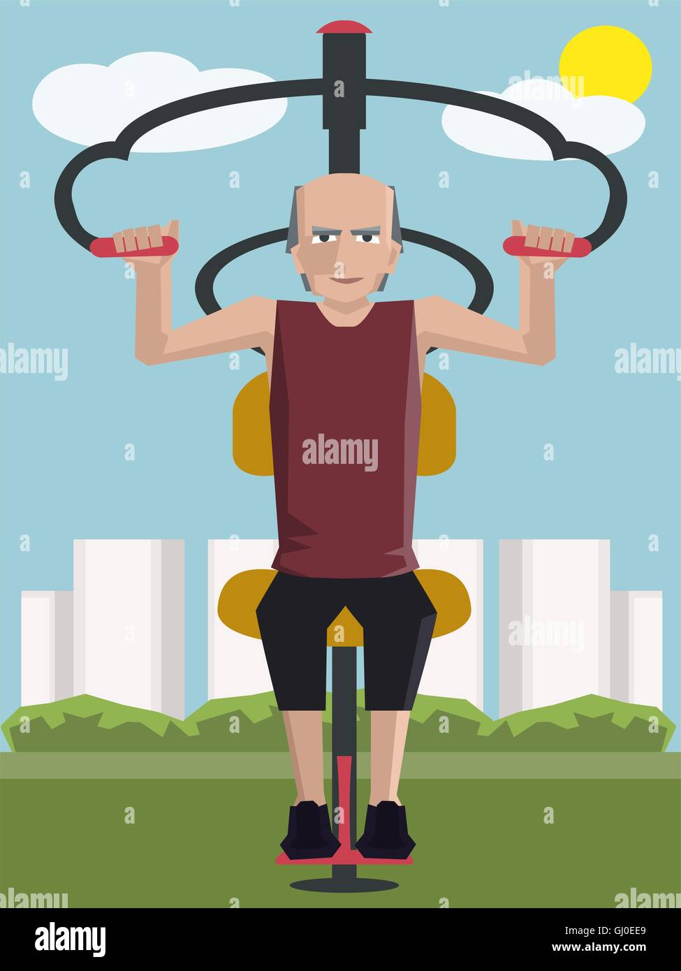 old man working out at outdoor gym - colorful cartoon vector illustration - Stock Vector