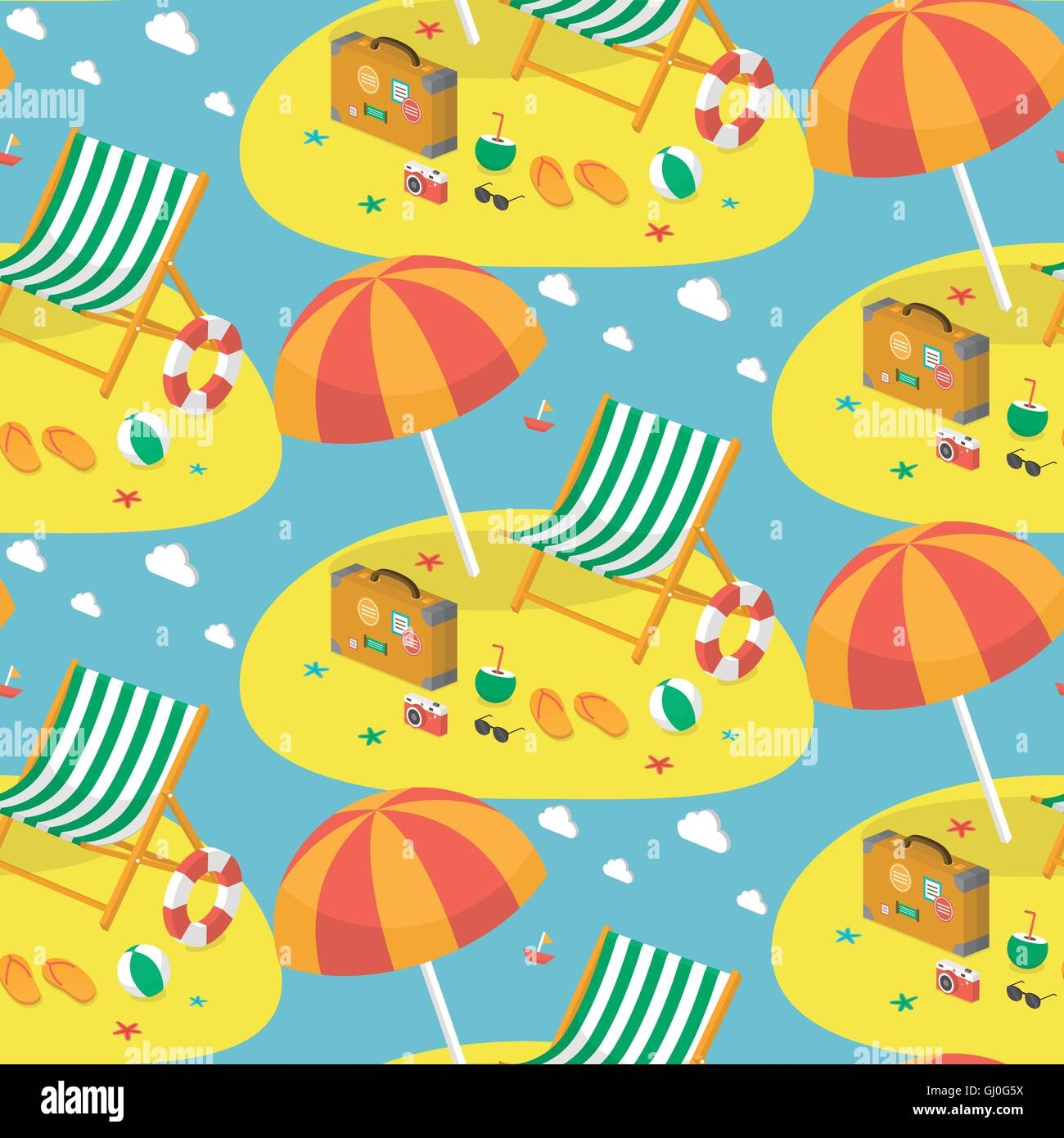 Summer attractive vacationland beach seamless pattern design - Stock Image