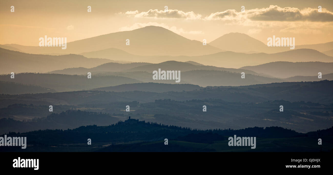 Province of Grosseto at Dawn, Tuscany, Italy - Stock Image