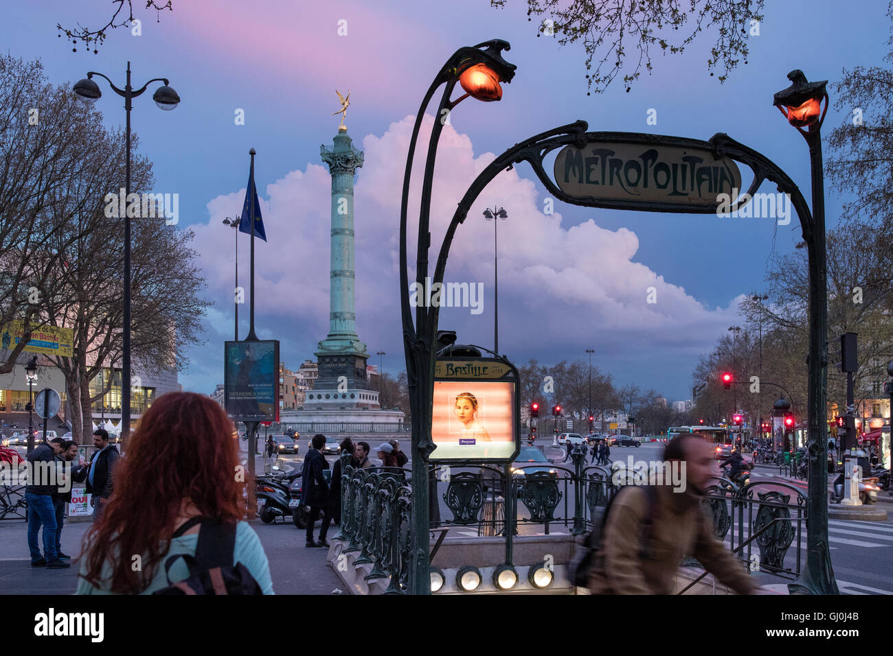 the entry to the Metro in the Place de la Bastille at dusk, Paris, France - Stock Image