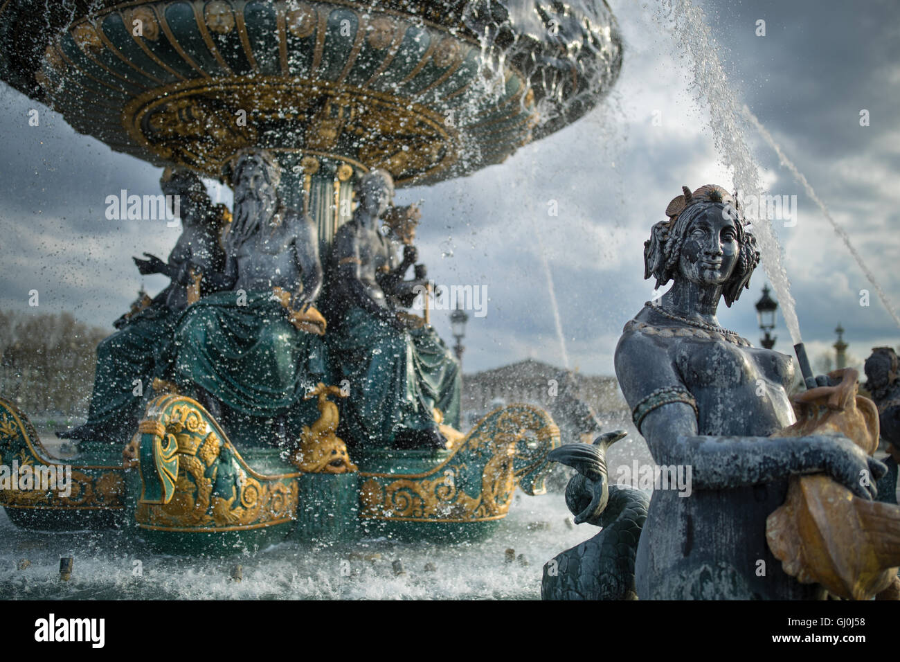 the fountains in the Place de la Concorde, Paris, France - Stock Image