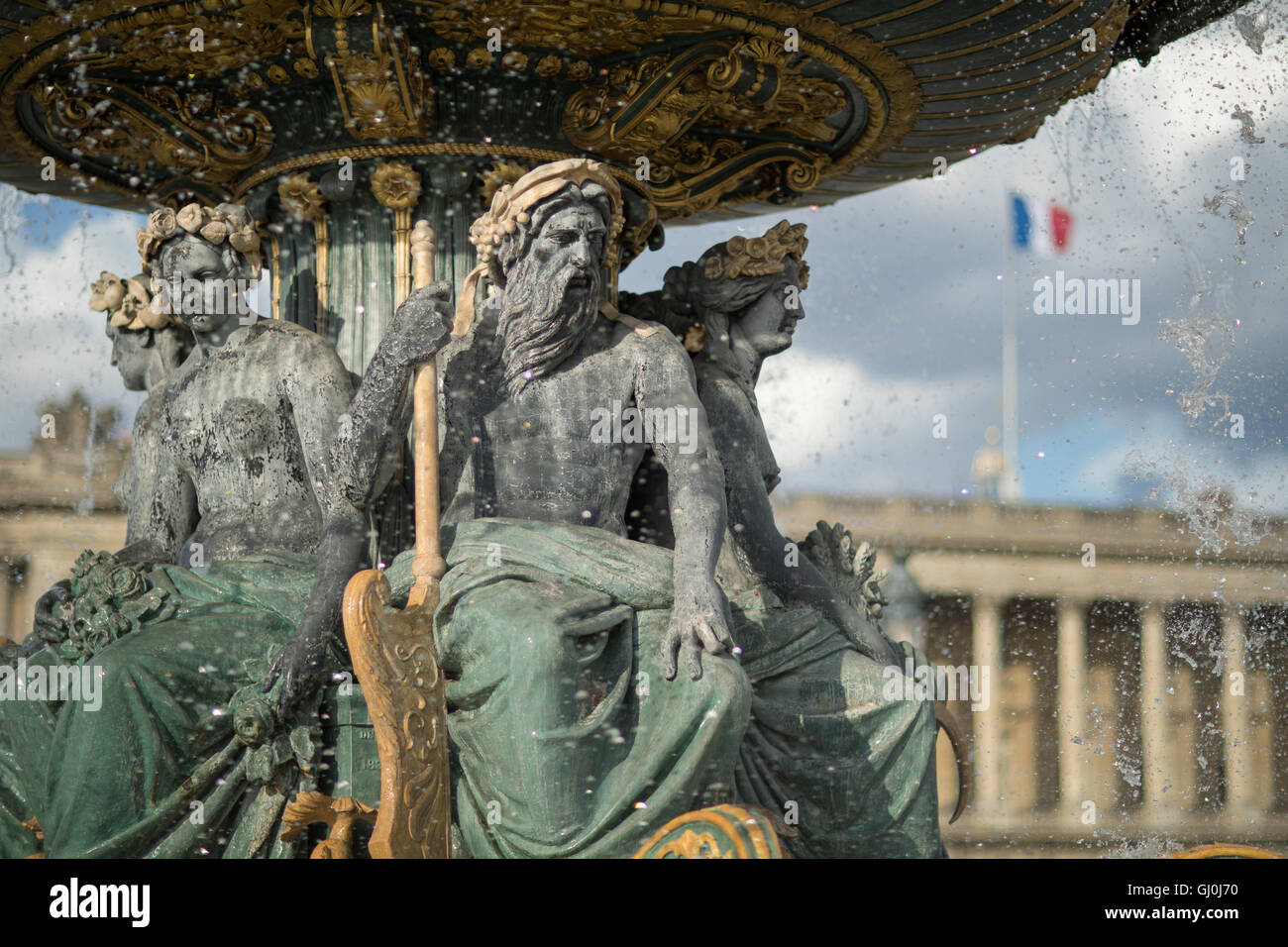 Place de la Concorde with french flag, Paris, France - Stock Image