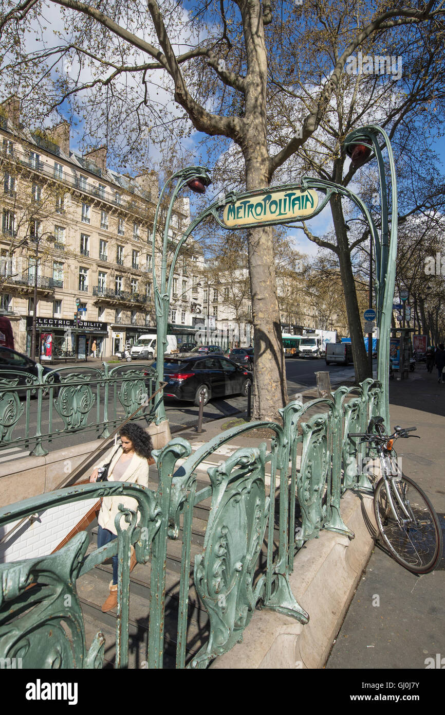 metro entrance, Place de la Bastille, Paris, France - Stock Image