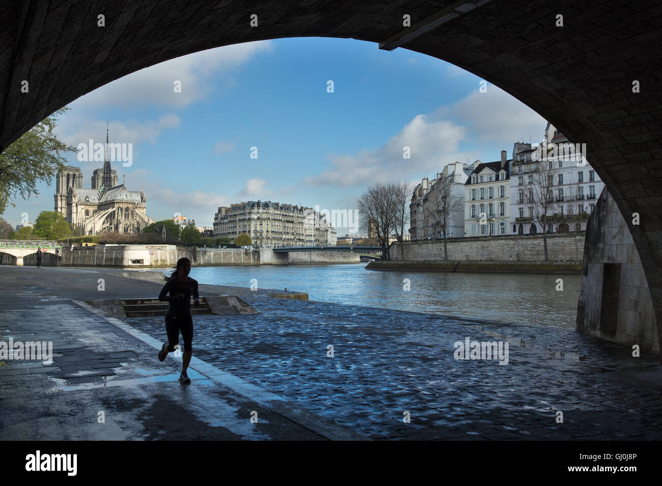 jogger running under the Pont de la Tournelle on the left bank of the River Seine, Paris, France - Stock Image
