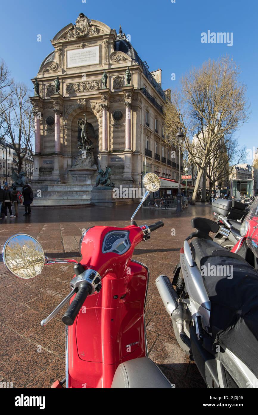 Scooter at Place Saint-Michel, Paris, France - Stock Image