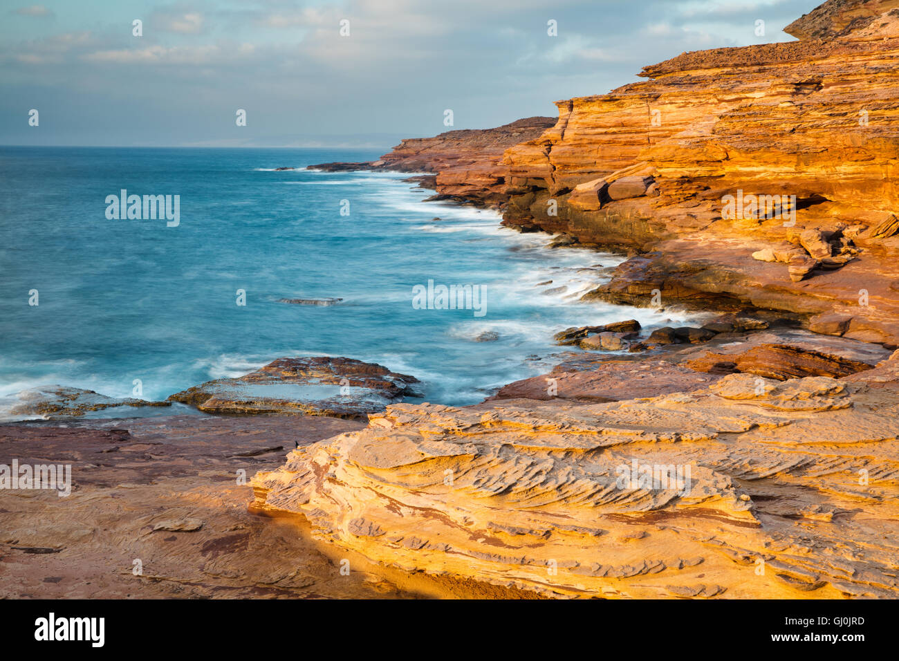 the coastal cliffs of Kalbarri National Park at Pot Alley, Western Australia - Stock Image