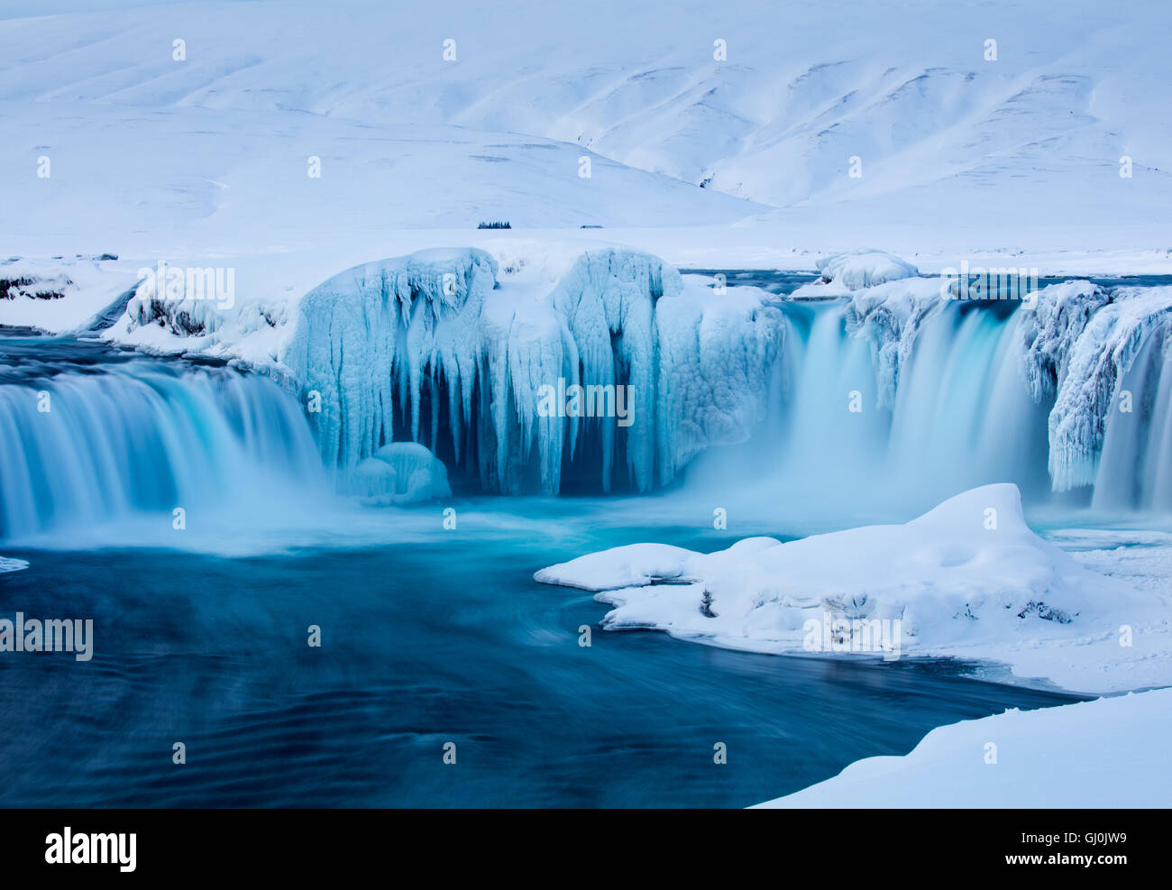 Goðafoss in winter, Bárðardalur district of North-Central Iceland - Stock Image