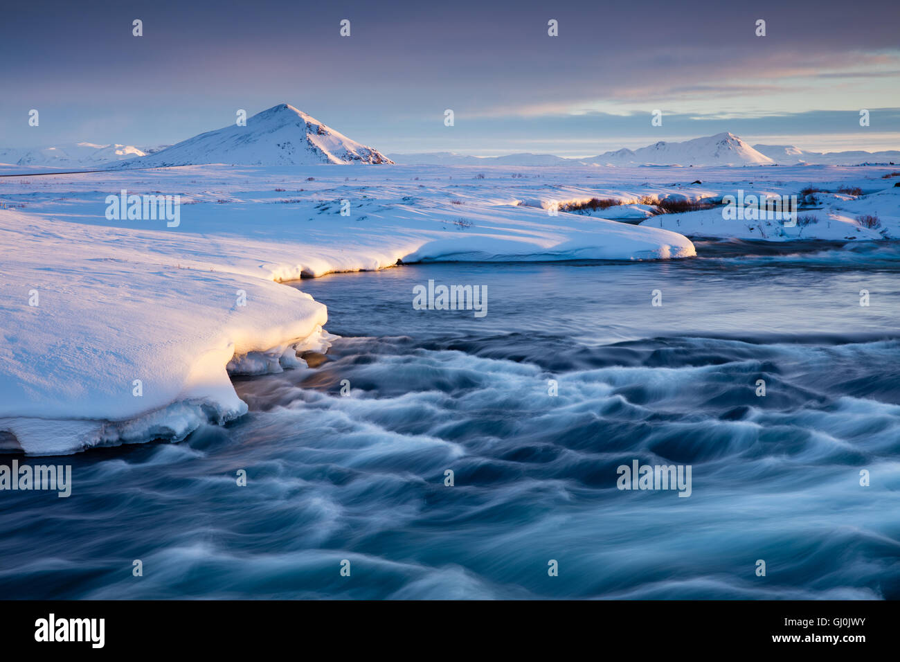 River Laxá , Mývatn at dawn, north eastern Iceland - Stock Image