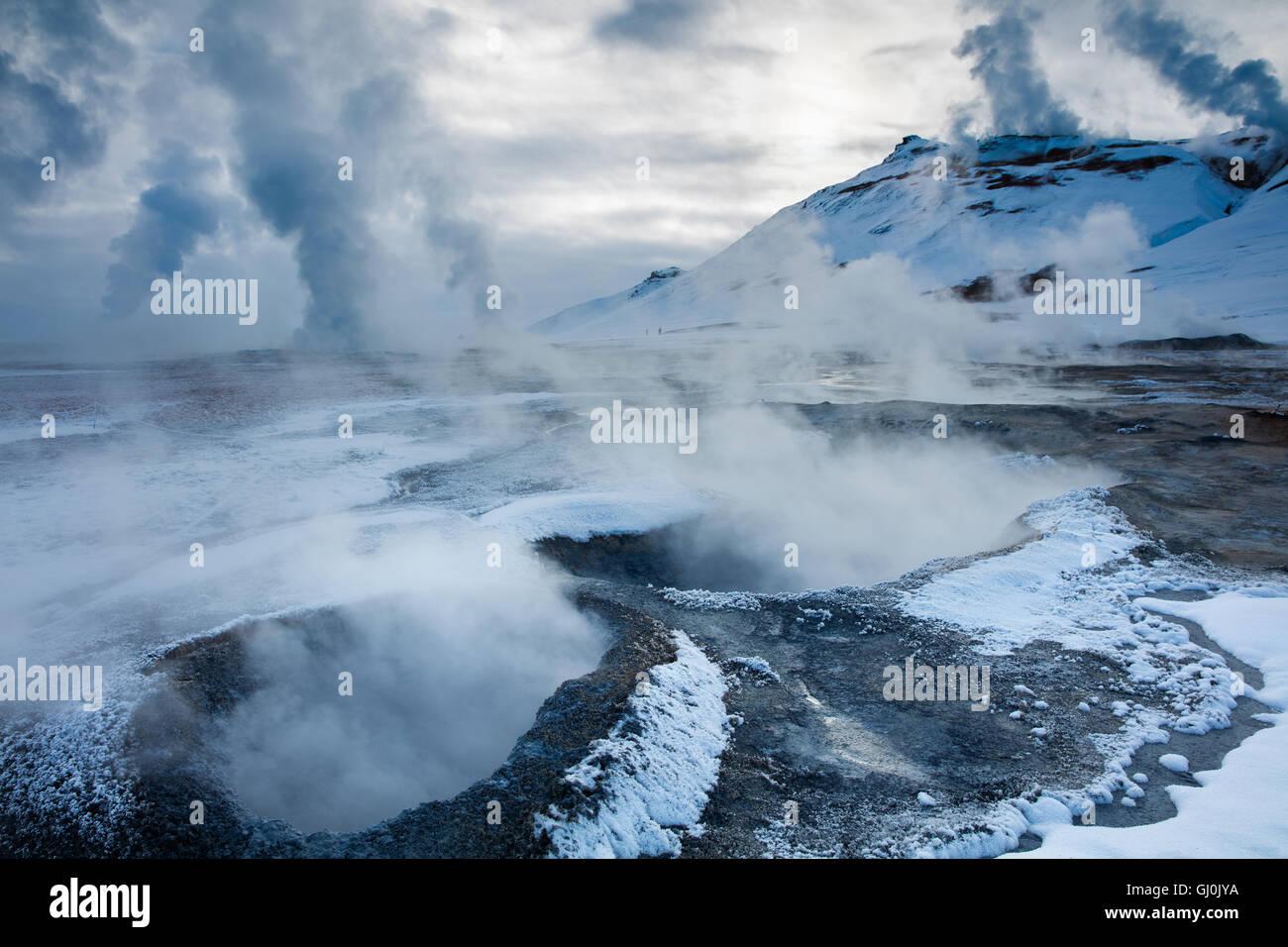 geysers at Hverarönd, near  Mývatn, north eastern Iceland - Stock Image