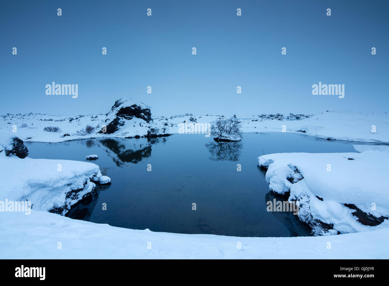 snow falling at Mývatn,winter in north eastern Iceland - Stock Image