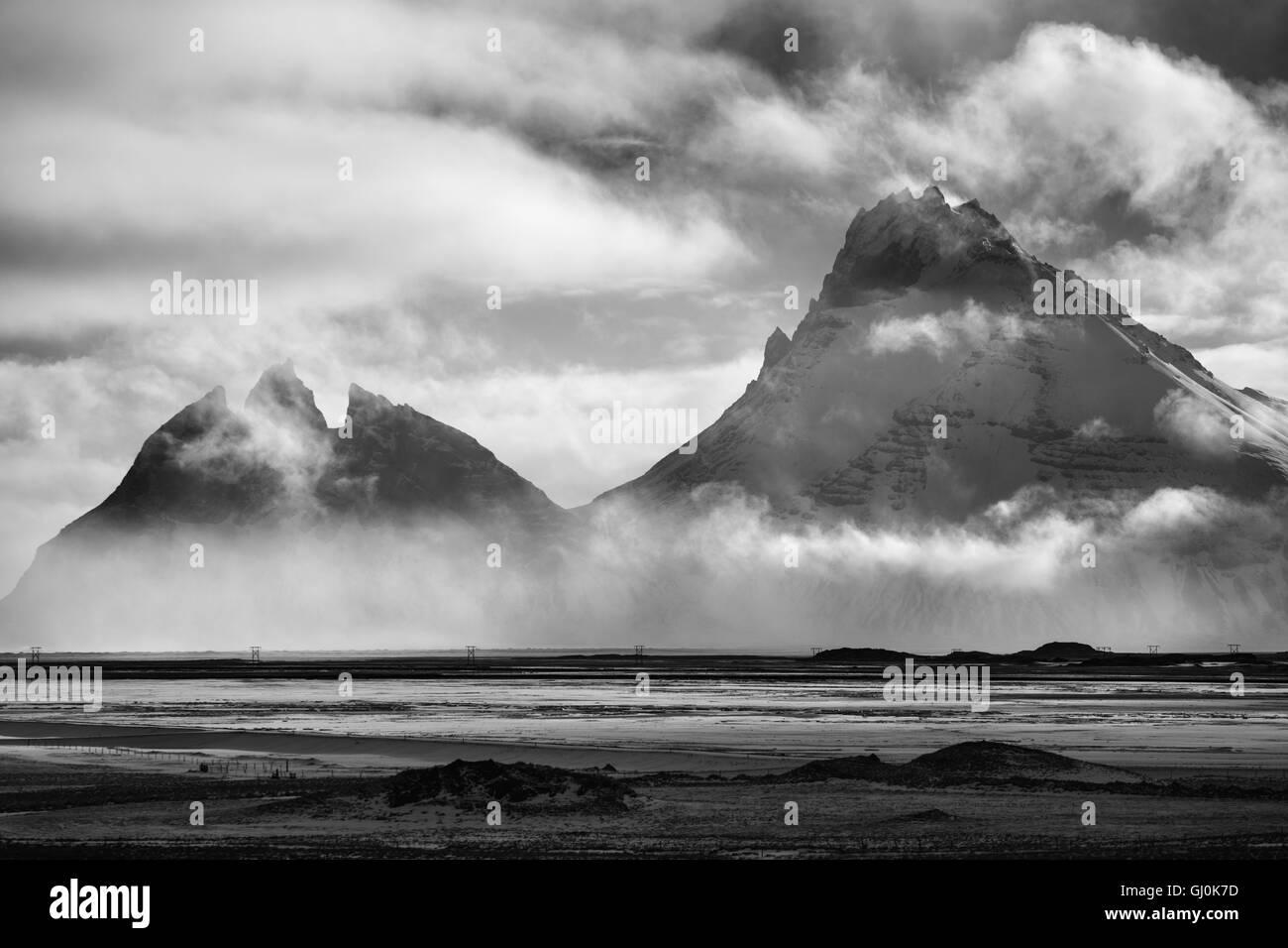 the mountains of the Stokksnes Peninsula, eastern Iceland - Stock Image