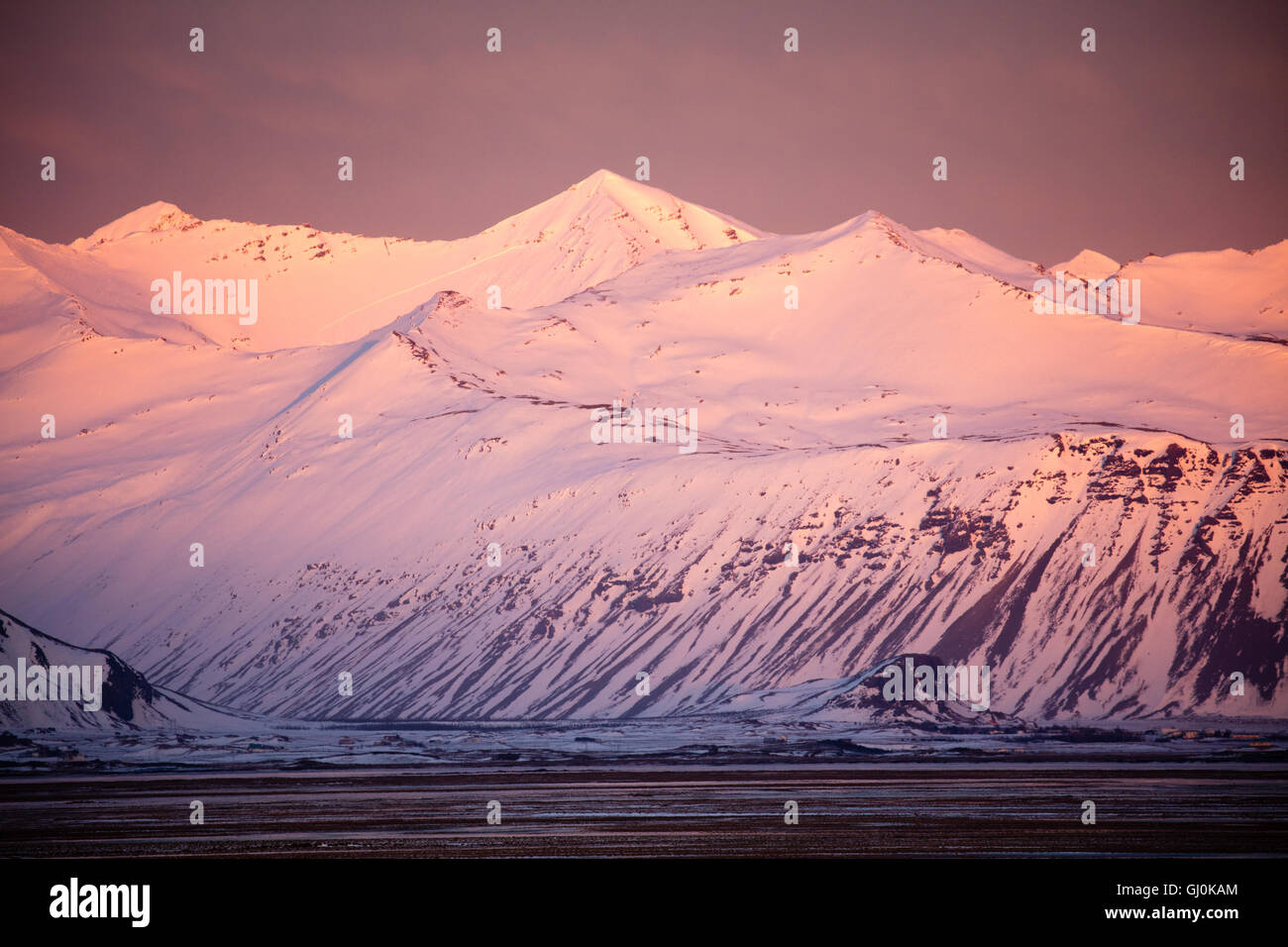 the mountains of eastern Iceland around Hoffn - Stock Image