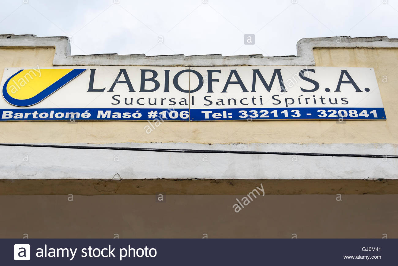 Labiofam S. A sign or logo. The state run Cuban company produces vaccines, medical equipment and dietary supplements - Stock Image