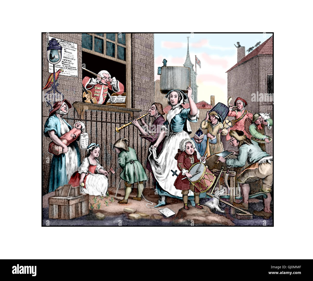 The Enraged Musician, Illustration from the 1741 engraving by William Hogarth, sharpened and coloured - Stock Image
