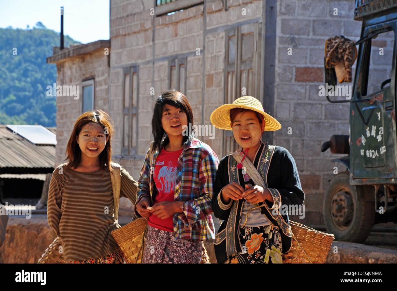 Local villagers, trekking in Kalaw, Myanmar Stock Photo