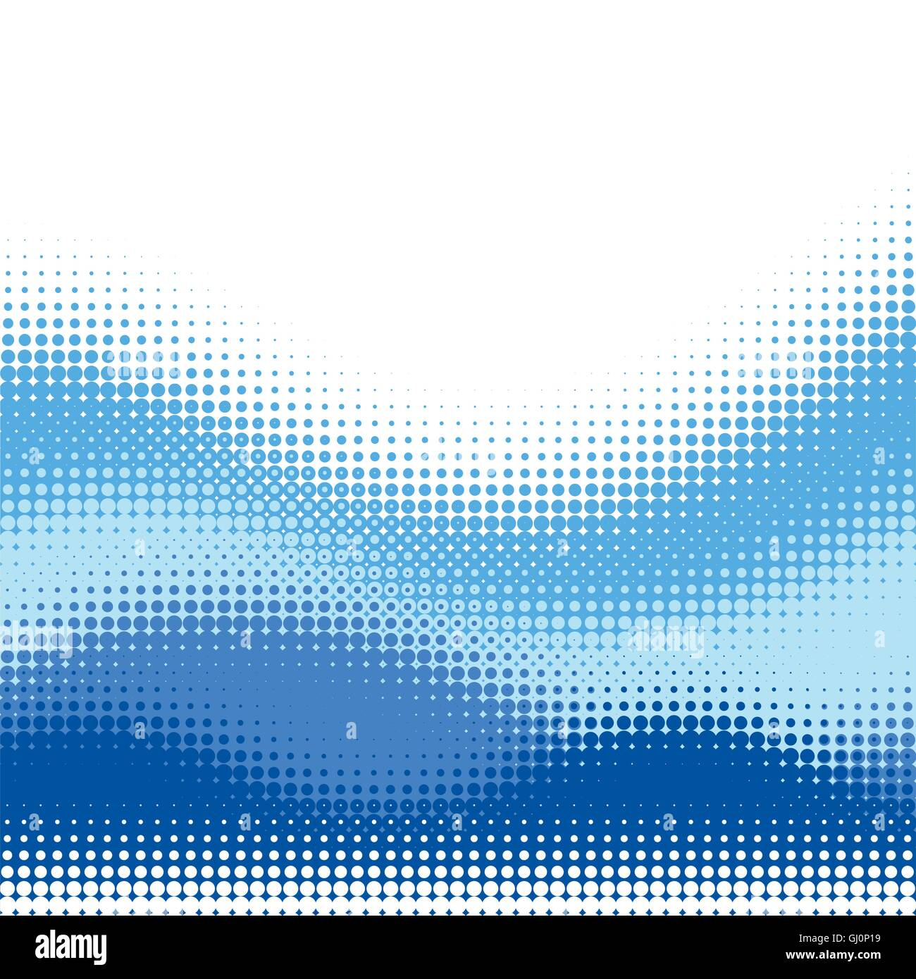 Multiple blue Halftone wave vector background, with upper white copy space - Stock Image
