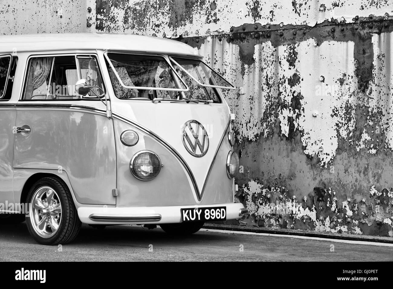 1966 VW Split Screen Volkswagen camper van. Bicester heritage centre, Oxfordshire, England. Black and White - Stock Image
