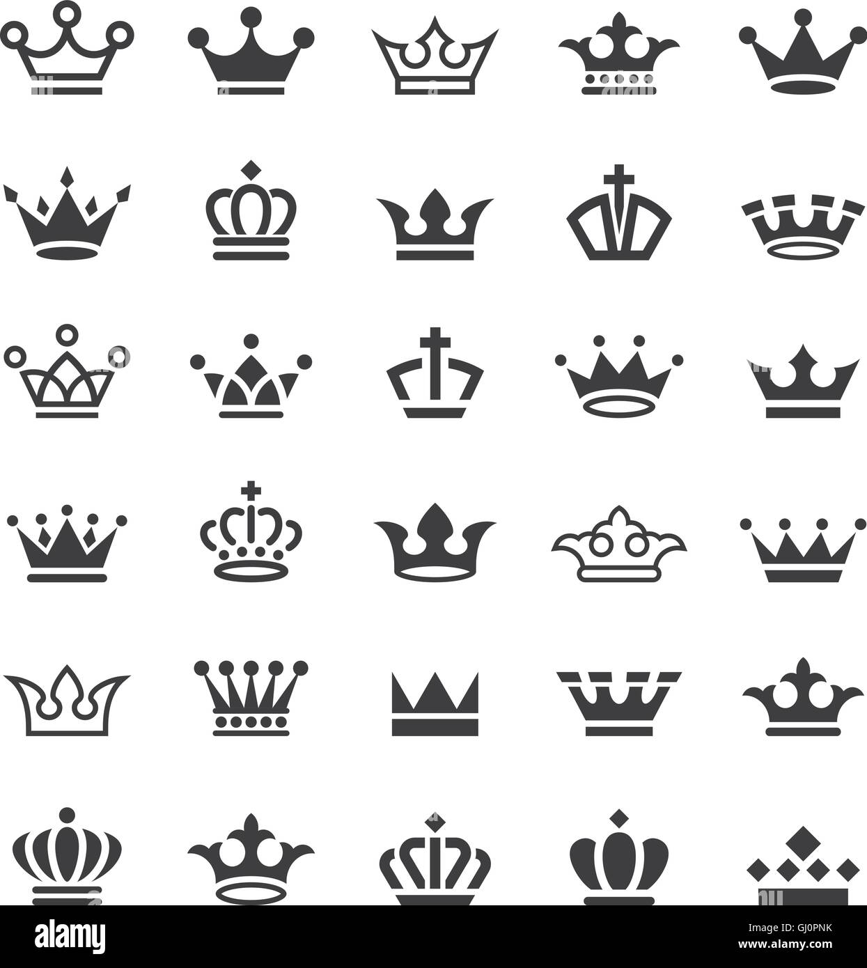 Big collection of thirty vector crown simple black and white icons - Stock Image