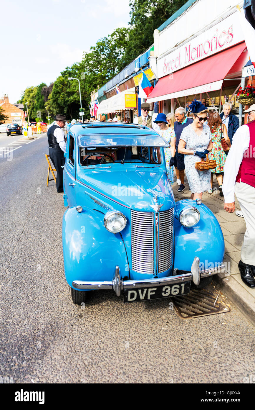 Austin car vintage classic vehicle saloon parked on road UK England GB - Stock Image