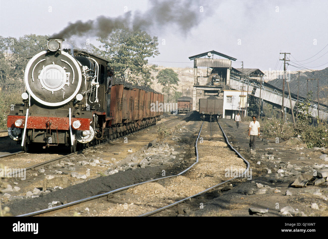 Korba Coal Mining in Andhra Pradesh operated this former BESA standard 2-8-0 from Indian Railways, February, 1989. Stock Photo