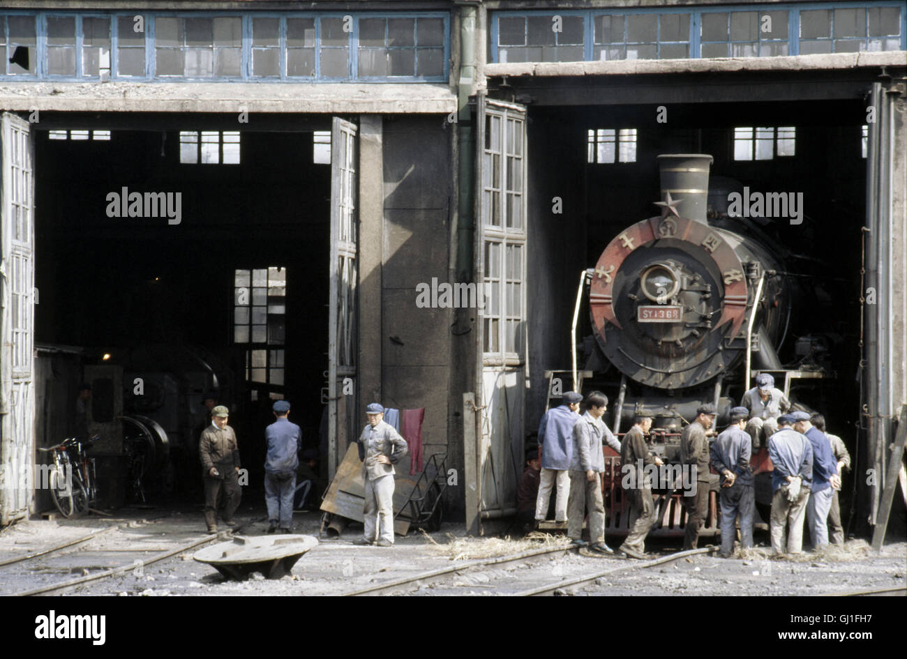 A Chinese SY Class Mikado on shed at Shenyang, Janurary 1992. - Stock Image
