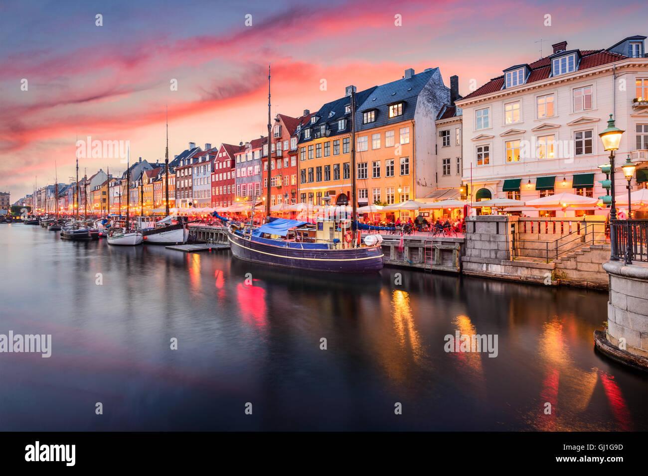 Copenhagen, Denmark on the Nyhavn Canal. - Stock Image