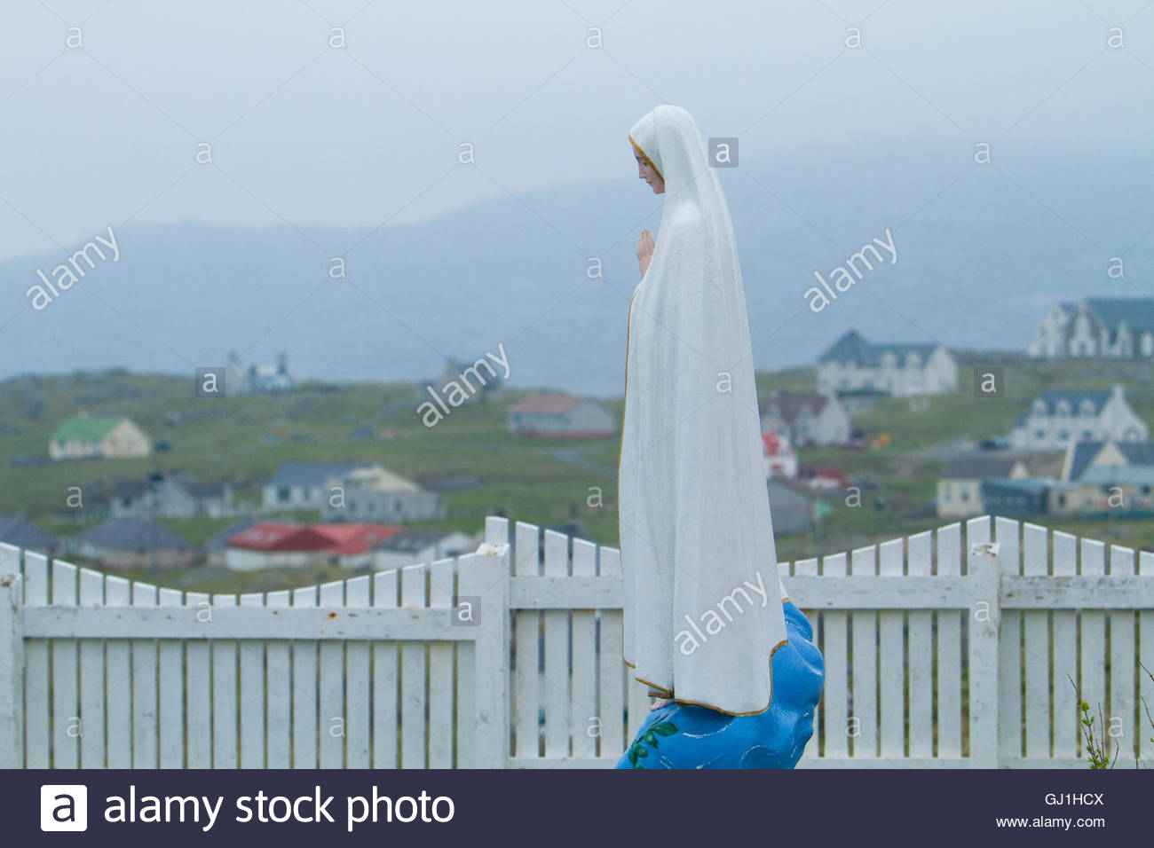 Statue of Our Lady of Fatima at Am Baile - a settlement on the Isle of Eriskay, Outer Hebrides, Scotland. Stock Photo