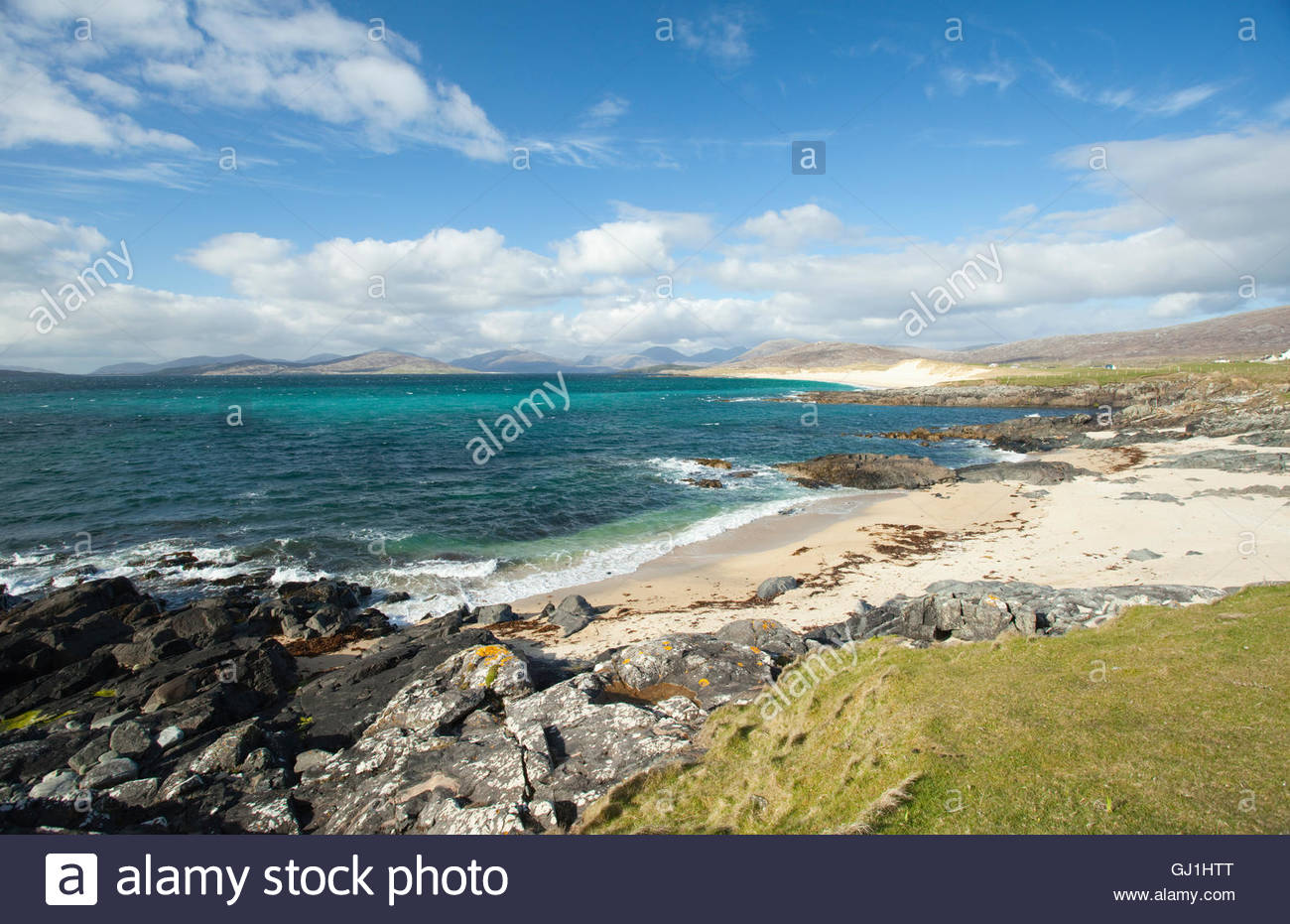 An empty white beach at Borvemore, Isle of Harris, Outer Hebrides, Scotland - Stock Image