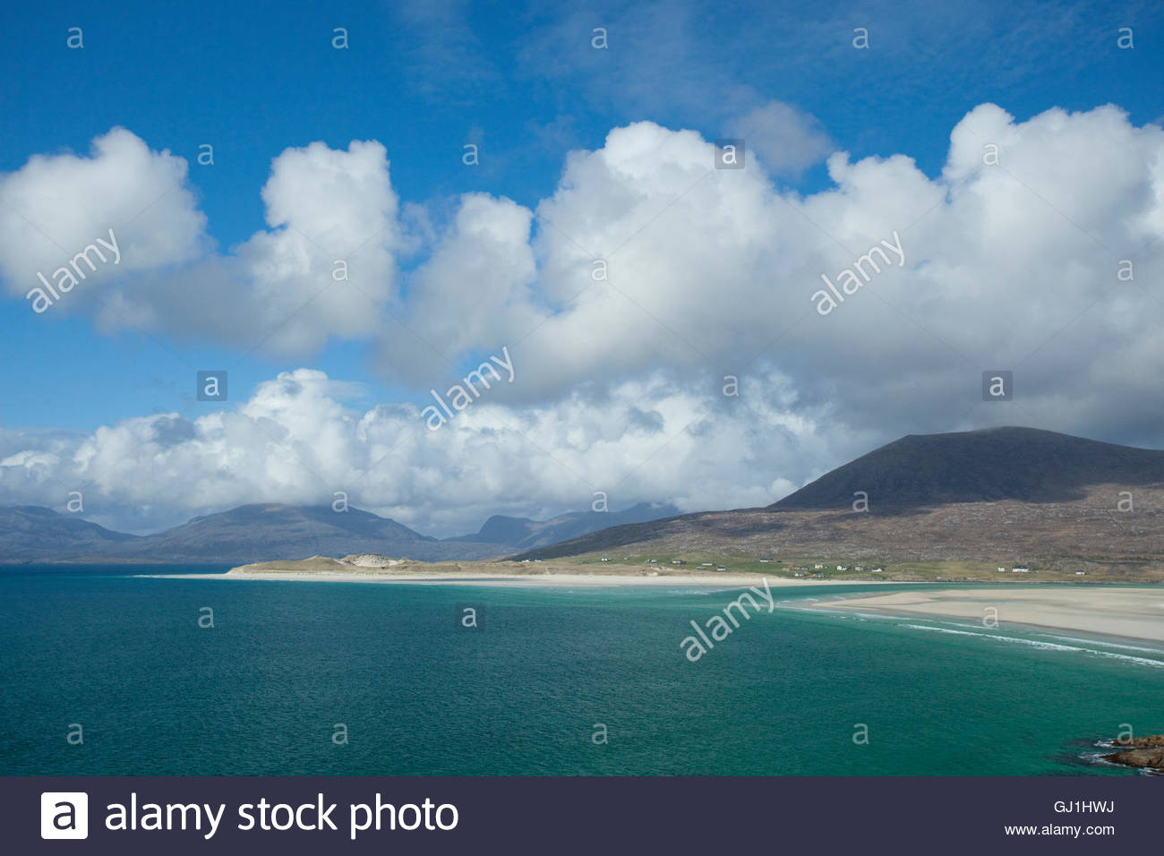 Traigh Sheileboist at Seilebost, looking towards Luskentyre, Isle Of Harris, Outer Hebrides, Scotland. - Stock Image