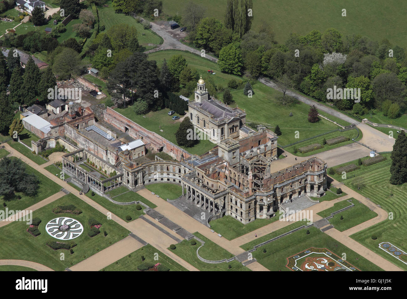Aerial views of English Heritage Witley Court and gardens near Great Witley set amongst the yellow rapeseed fields - Stock Image