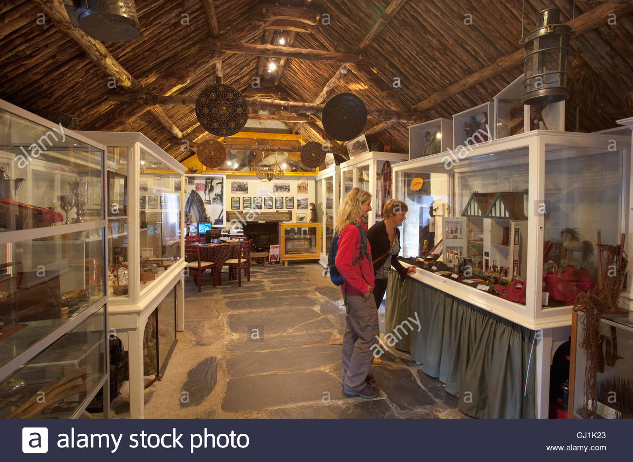 The Glencoe and North Lorn Folk Museum in an early 18th Century restored thatched cottage and displaying a selection - Stock Image