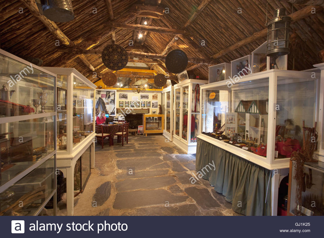 The Glencoe and North Lorn Folk Museum in an early 18th Century restored thatched cottage - Stock Image