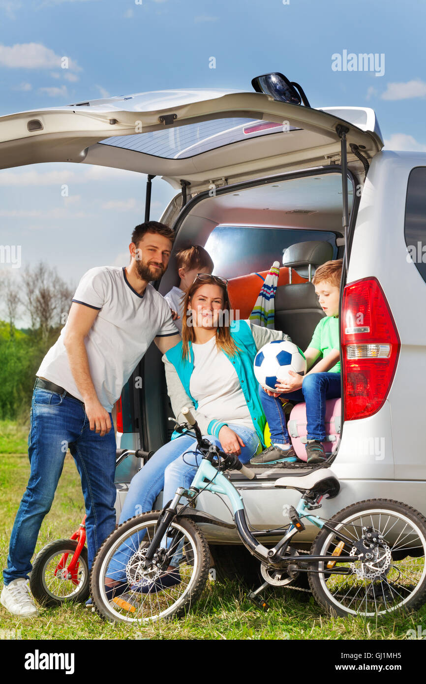 Happy active family on the nature vacation - Stock Image