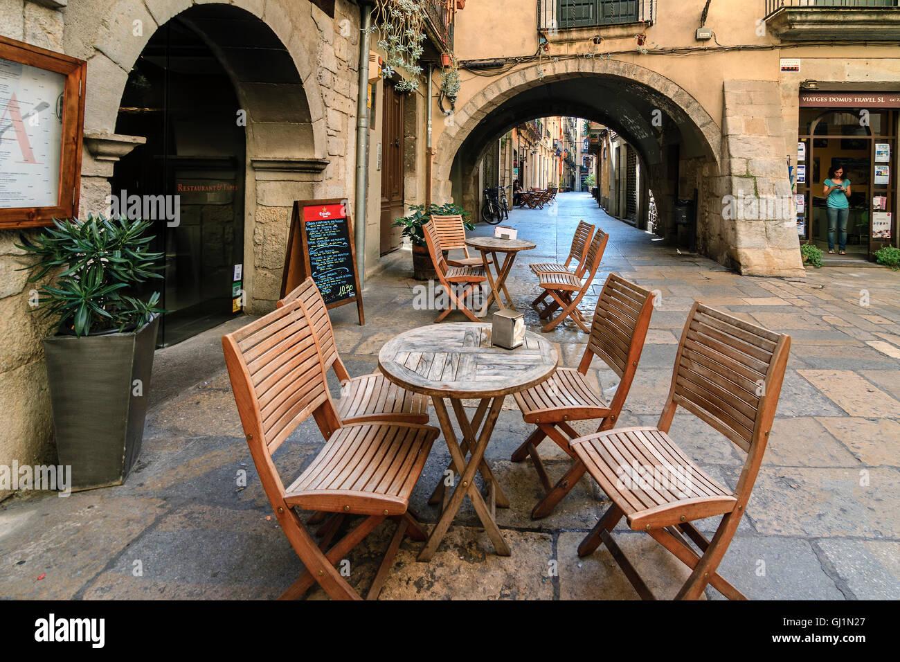 Street Cafe Girona Catalonia Spain Stock Photo