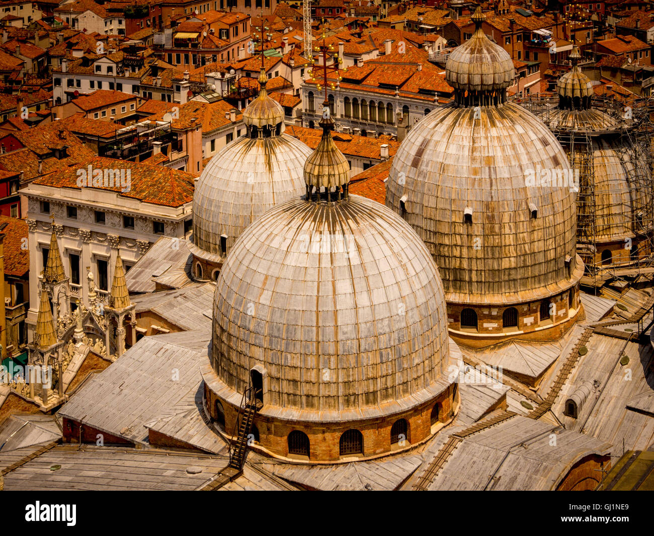 Aerial view of 4 of the 5 domes of St Mark's Basilica's, Venice, Italy. Stock Photo