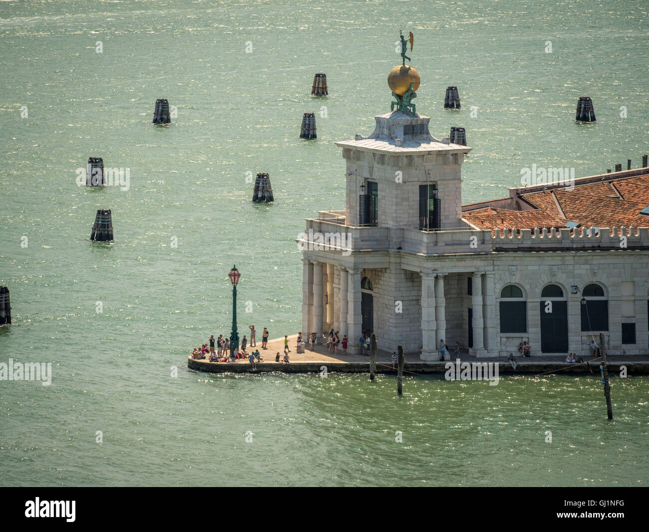 Aerial view of Punta della Dogana with it's roof top statue of Fortuna, Dogana da Mar, Venice, Italy - Stock Image