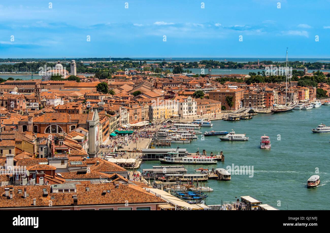 Busy vaporetto terminals along Riva degli Schiavoni. Venice, Italy. - Stock Image